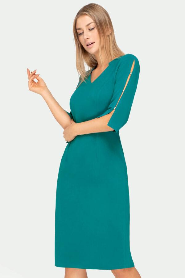 Sukienka Gabrielle turkusowa z rozciętymi rękawami