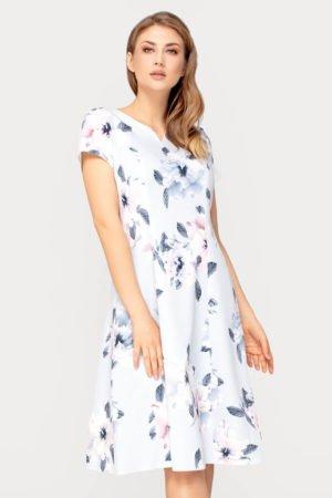 Sukienka Nina szara w kwiaty