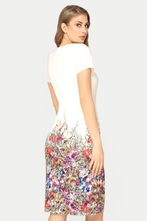 Sukienka Pola beżowa w kwiaty
